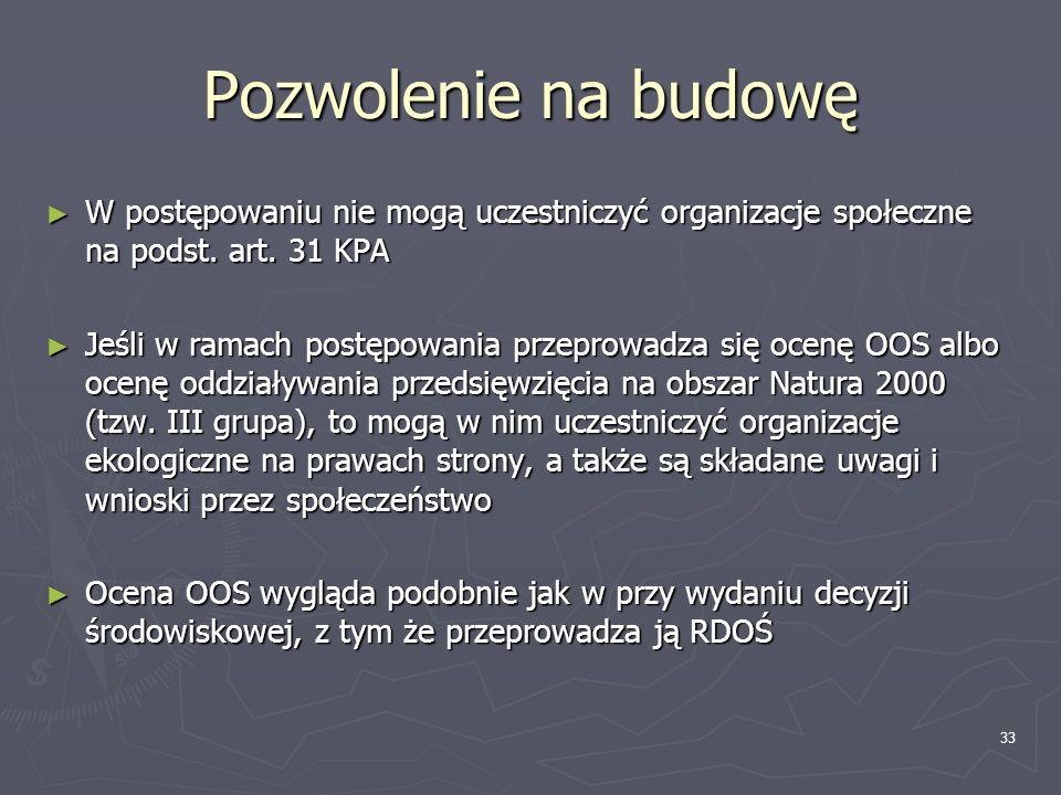 Pozwolenie na budowę W postępowaniu nie mogą uczestniczyć organizacje społeczne na podst. art. 31 KPA.