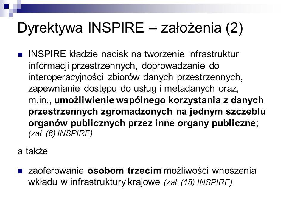 Dyrektywa INSPIRE – założenia (2)