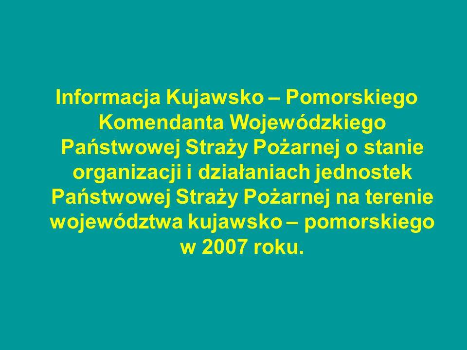 Informacja Kujawsko – Pomorskiego Komendanta Wojewódzkiego Państwowej Straży Pożarnej o stanie organizacji i działaniach jednostek Państwowej Straży Pożarnej na terenie województwa kujawsko – pomorskiego w 2007 roku.