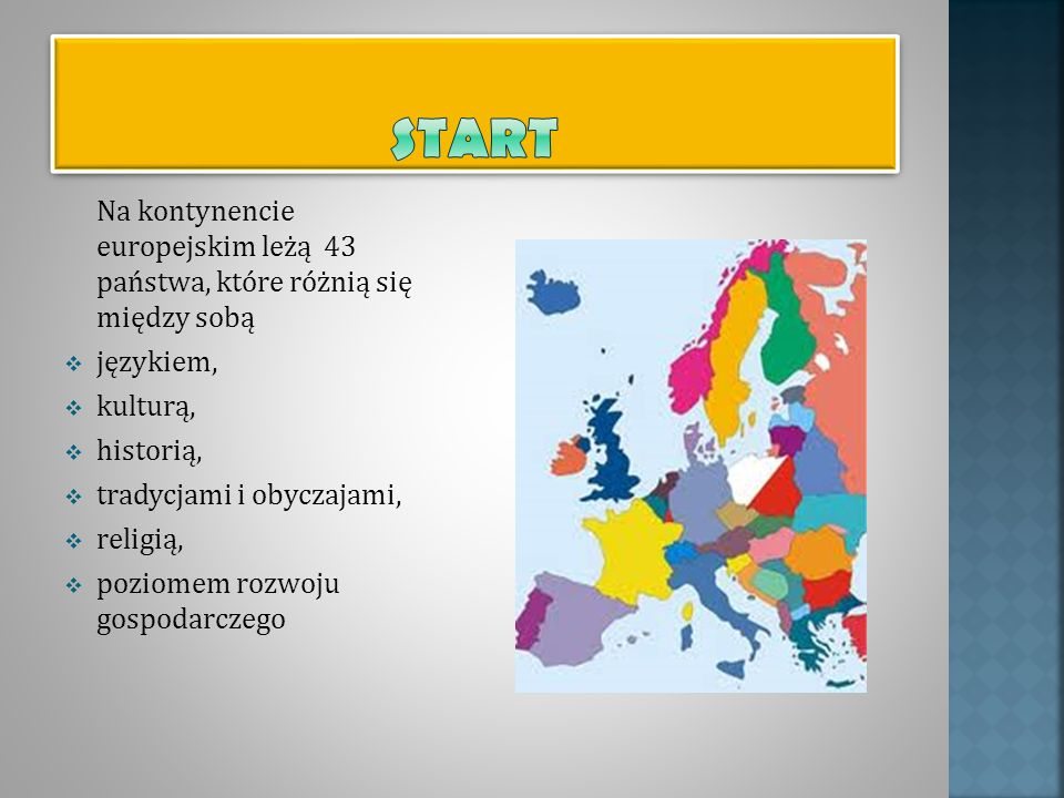 Start Na kontynencie europejskim leżą 43 państwa, które różnią się między sobą. językiem, kulturą,