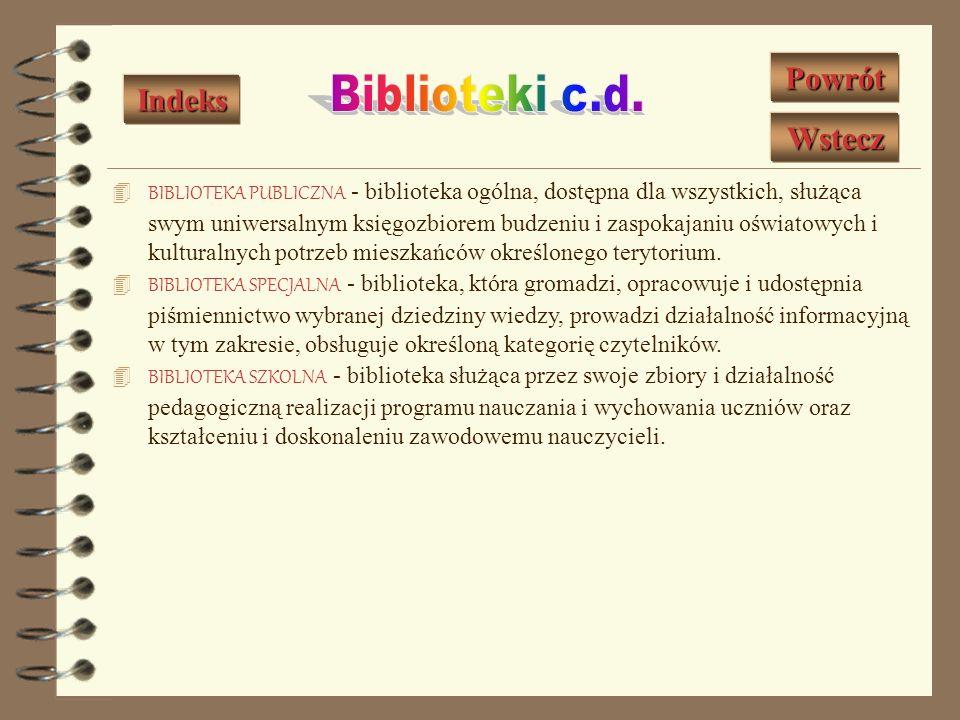 Biblioteki c.d. Powrót Indeks Wstecz