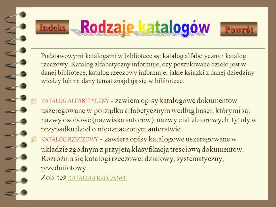 Rodzaje katalogów Indeks Powrót