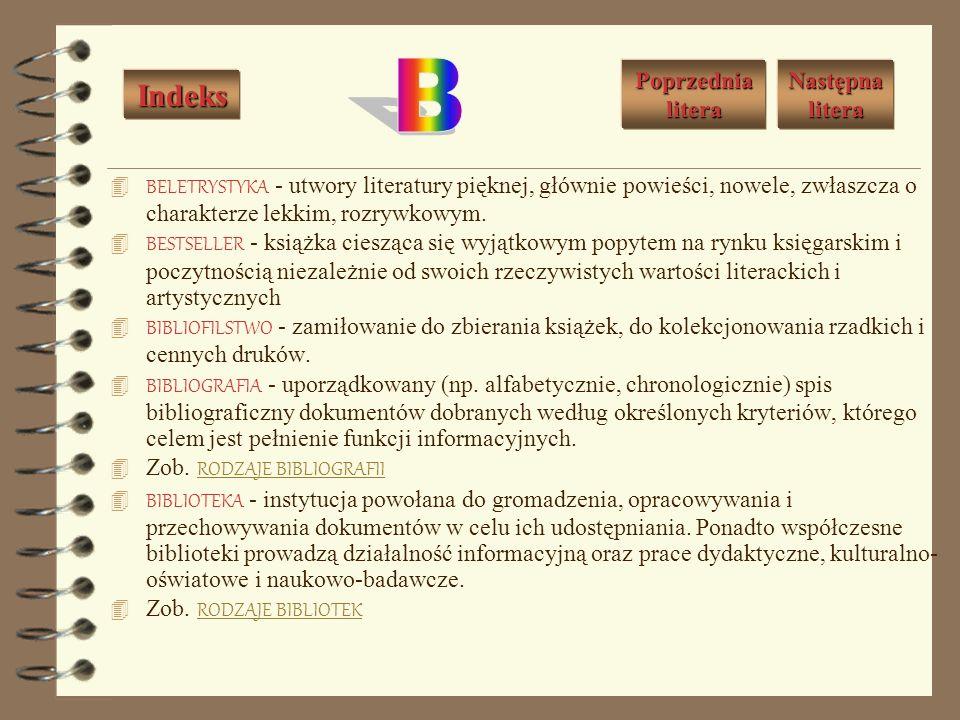 B Indeks Poprzednia litera Następna litera
