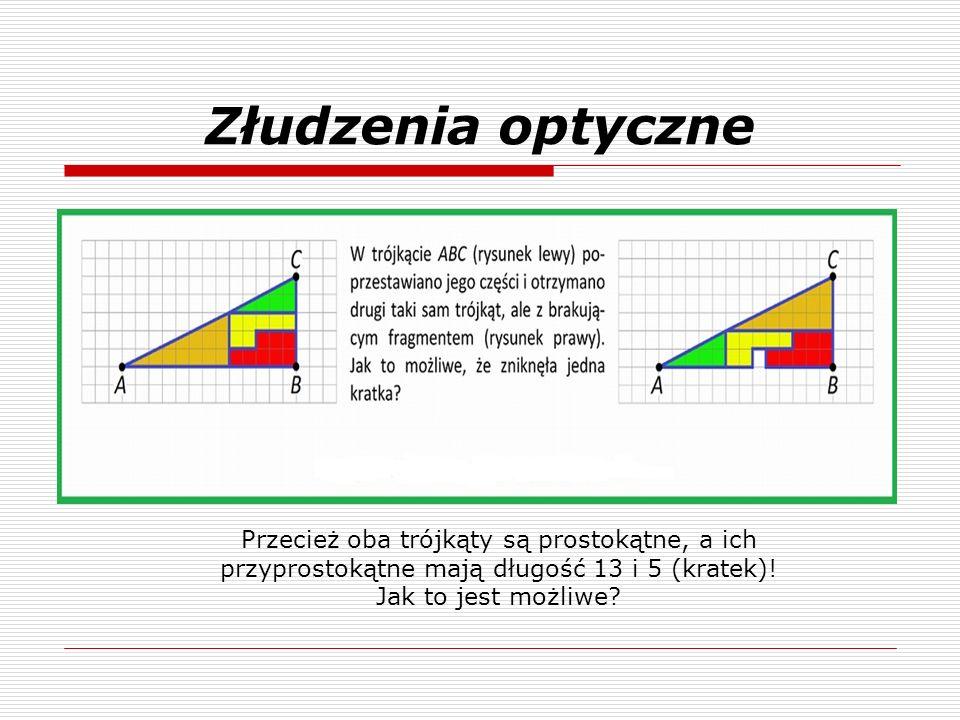 Złudzenia optyczne Przecież oba trójkąty są prostokątne, a ich przyprostokątne mają długość 13 i 5 (kratek)!