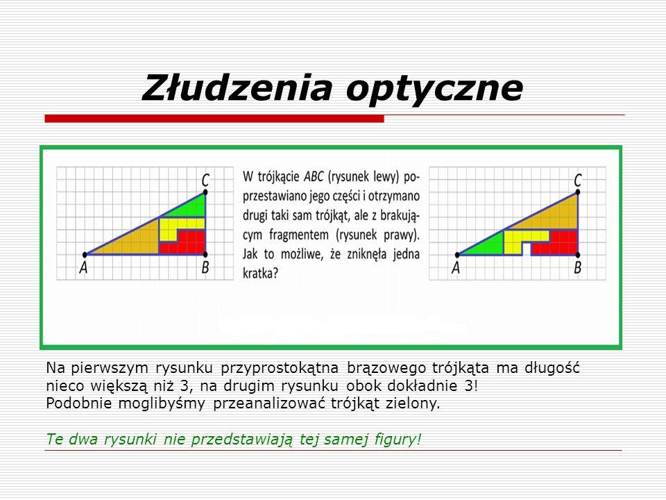 Złudzenia optyczne Na pierwszym rysunku przyprostokątna brązowego trójkąta ma długość nieco większą niż 3, na drugim rysunku obok dokładnie 3!