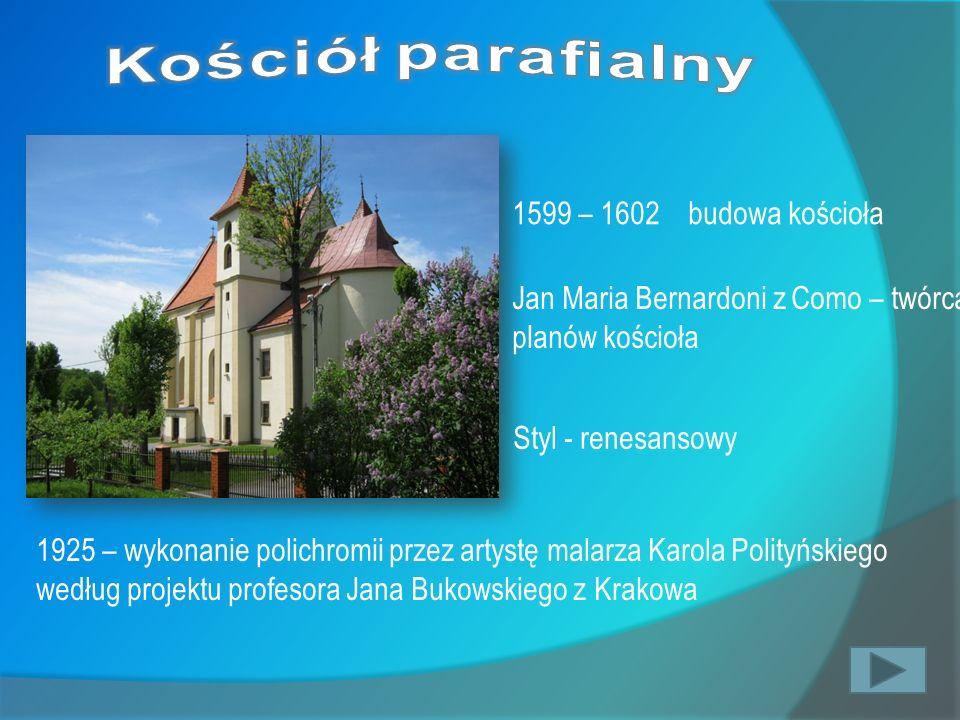 Kościół parafialny 1599 – 1602 budowa kościoła
