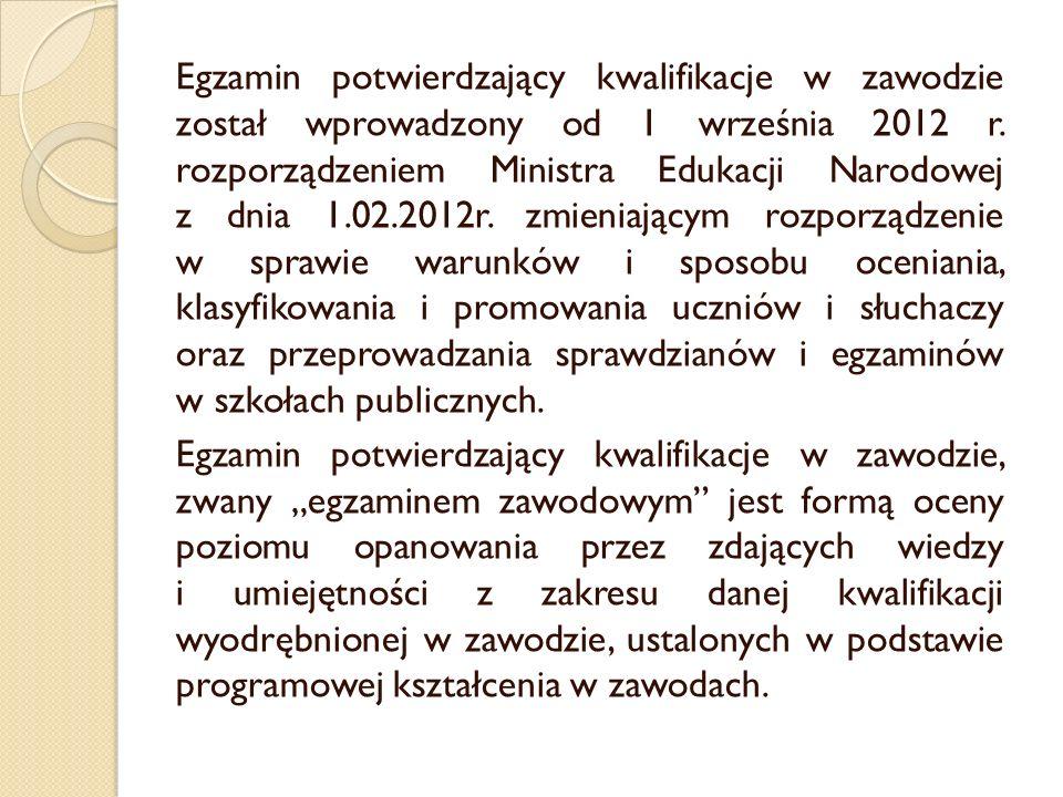 Egzamin potwierdzający kwalifikacje w zawodzie został wprowadzony od 1 września 2012 r.