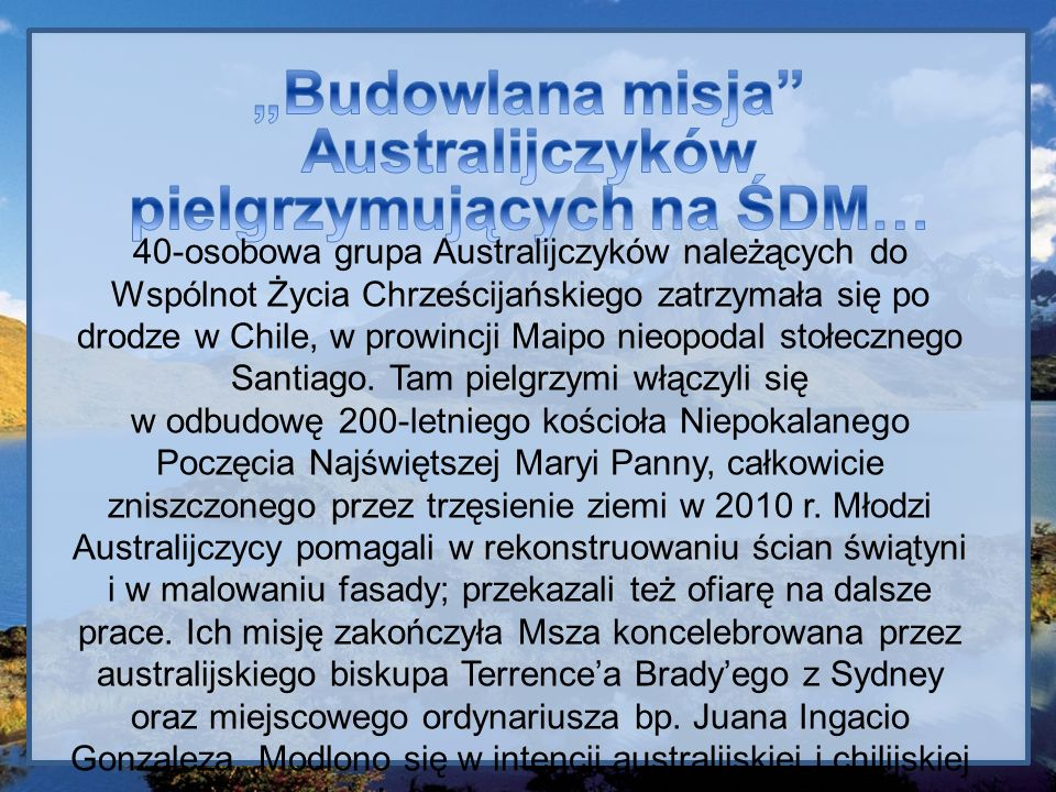 """""""Budowlana misja Australijczyków pielgrzymujących na ŚDM…"""