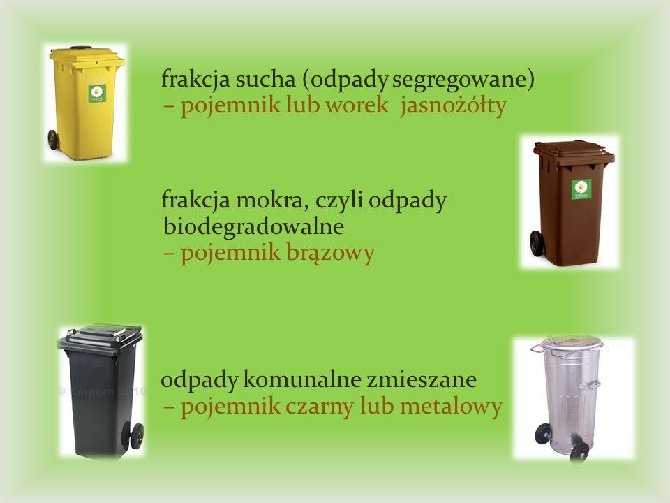 frakcja sucha (odpady segregowane) – pojemnik lub worek jasnożółty frakcja mokra, czyli odpady biodegradowalne – pojemnik brązowy odpady komunalne zmieszane – pojemnik czarny lub metalowy