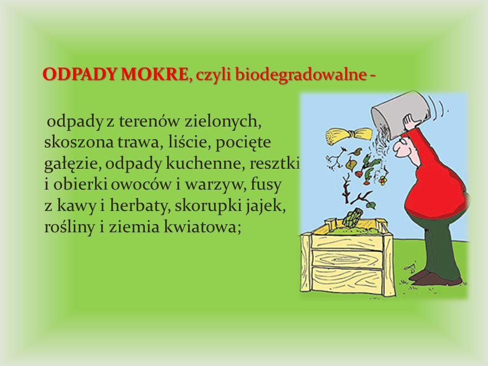 ODPADY MOKRE, czyli biodegradowalne -