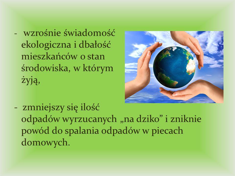 - wzrośnie świadomość ekologiczna i dbałość mieszkańców o stan środowiska, w którym żyją,