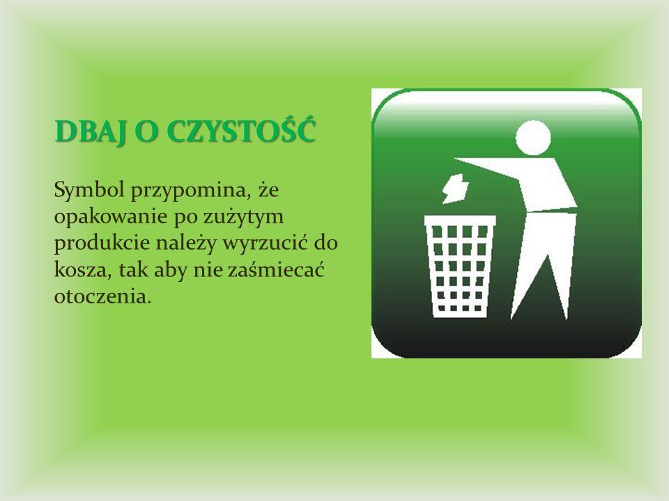DBAJ O CZYSTOŚĆ Symbol przypomina, że opakowanie po zużytym produkcie należy wyrzucić do kosza, tak aby nie zaśmiecać otoczenia.