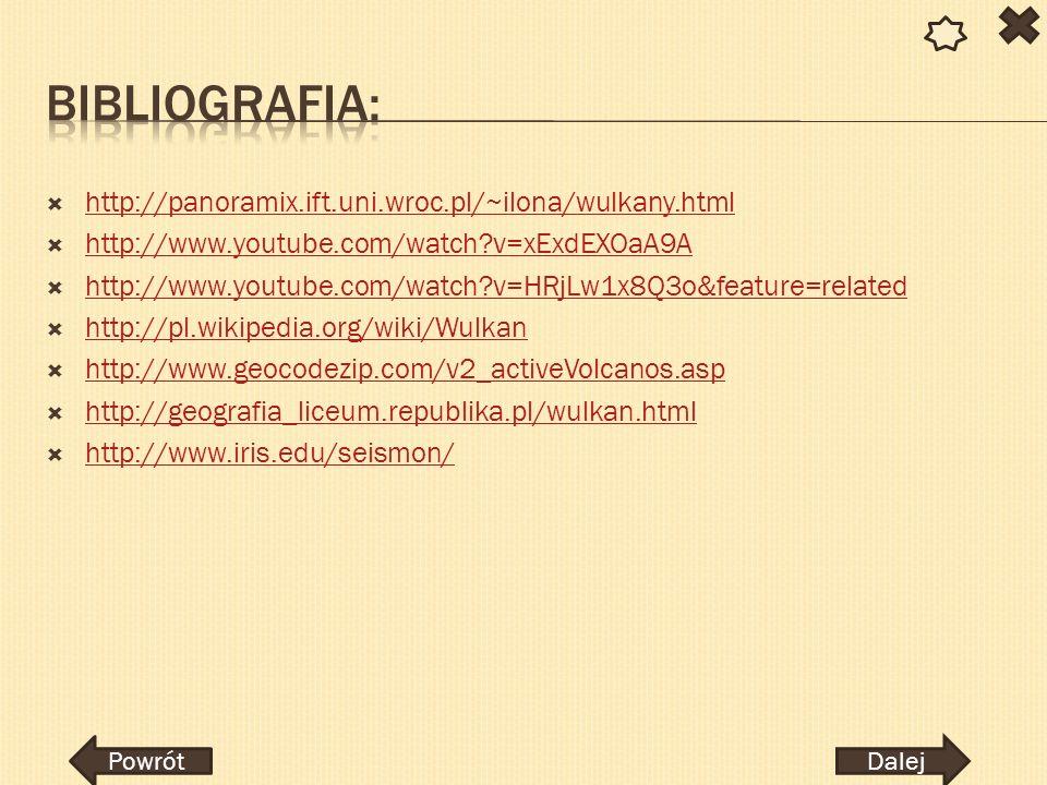 Bibliografia: http://panoramix.ift.uni.wroc.pl/~ilona/wulkany.html
