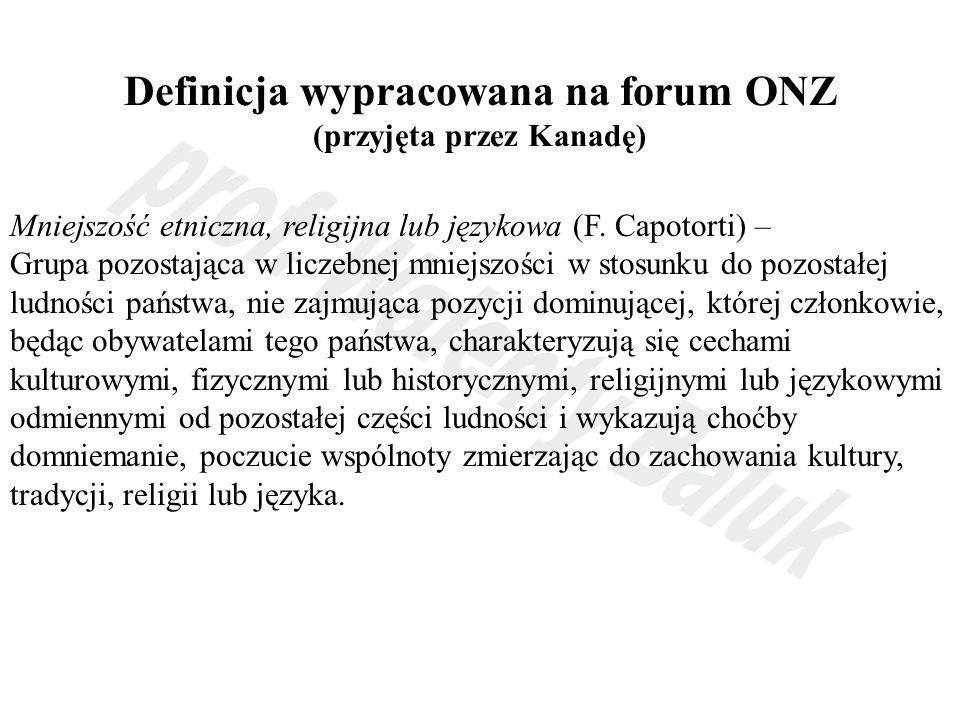Definicja wypracowana na forum ONZ (przyjęta przez Kanadę)