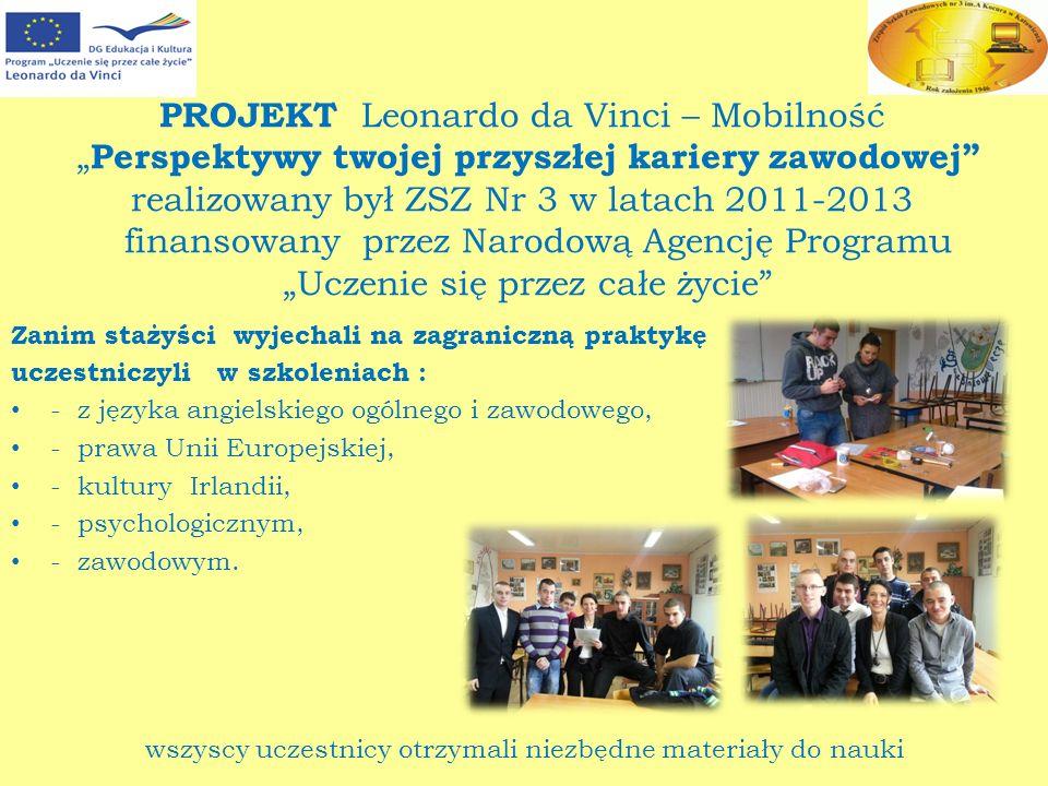 """PROJEKT Leonardo da Vinci – Mobilność """"Perspektywy twojej przyszłej kariery zawodowej realizowany był ZSZ Nr 3 w latach 2011-2013 finansowany przez Narodową Agencję Programu """"Uczenie się przez całe życie"""