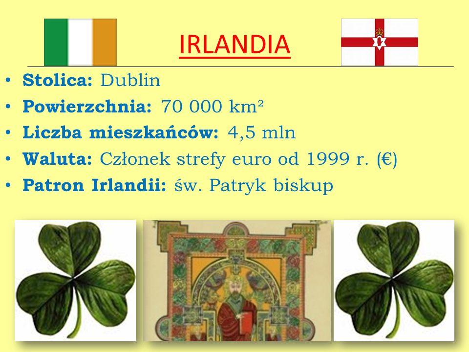 IRLANDIA Stolica: Dublin Powierzchnia: 70 000 km²
