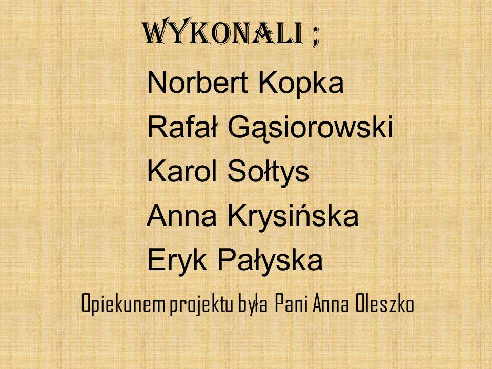 WYKONALI ; Norbert Kopka Rafał Gąsiorowski Karol Sołtys Anna Krysińska Eryk Pałyska Opiekunem projektu była Pani Anna Oleszko.