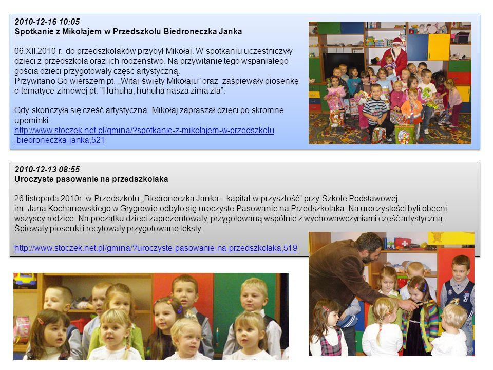 2010-12-16 10:05 Spotkanie z Mikołajem w Przedszkolu Biedroneczka Janka. 06.XII.2010 r. do przedszkolaków przybył Mikołaj. W spotkaniu uczestniczyły.
