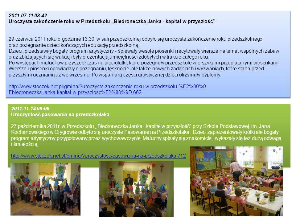 """2011-07-11 08:42 Uroczyste zakończenie roku w Przedszkolu """"Biedroneczka Janka - kapitał w przyszłość"""