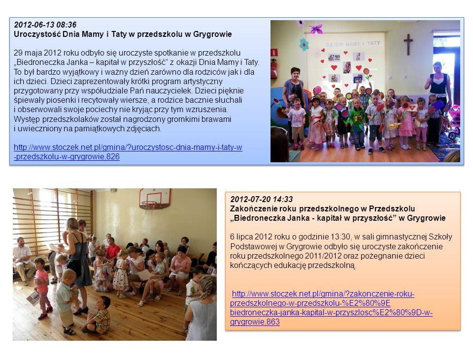 2012-06-13 08:36 Uroczystość Dnia Mamy i Taty w przedszkolu w Grygrowie. 29 maja 2012 roku odbyło się uroczyste spotkanie w przedszkolu.