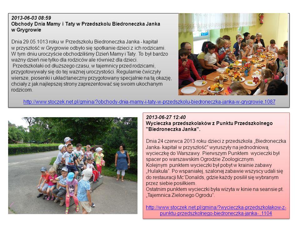2013-06-03 08:59 Obchody Dnia Mamy i Taty w Przedszkolu Biedroneczka Janka. w Grygrowie.