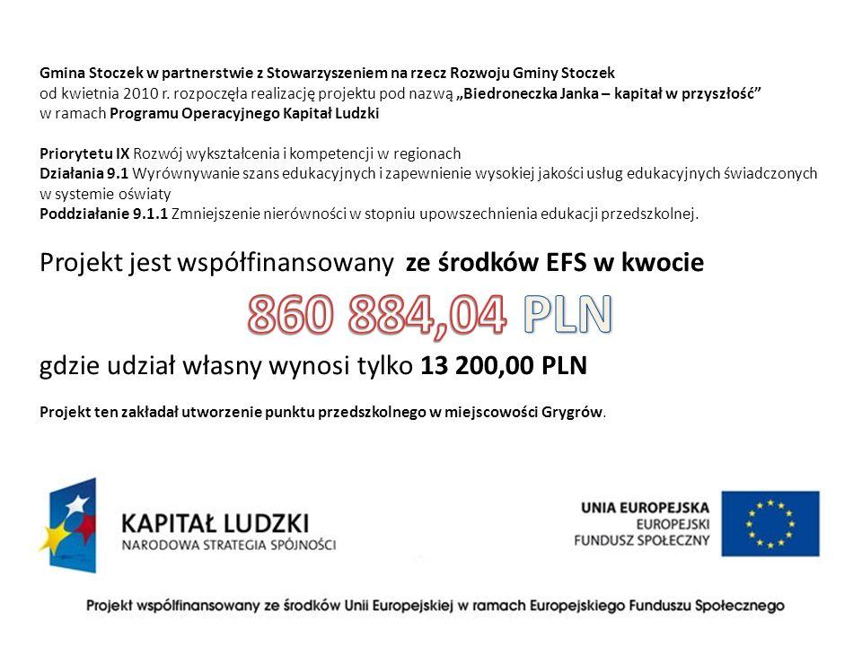 860 884,04 PLN Projekt jest współfinansowany ze środków EFS w kwocie