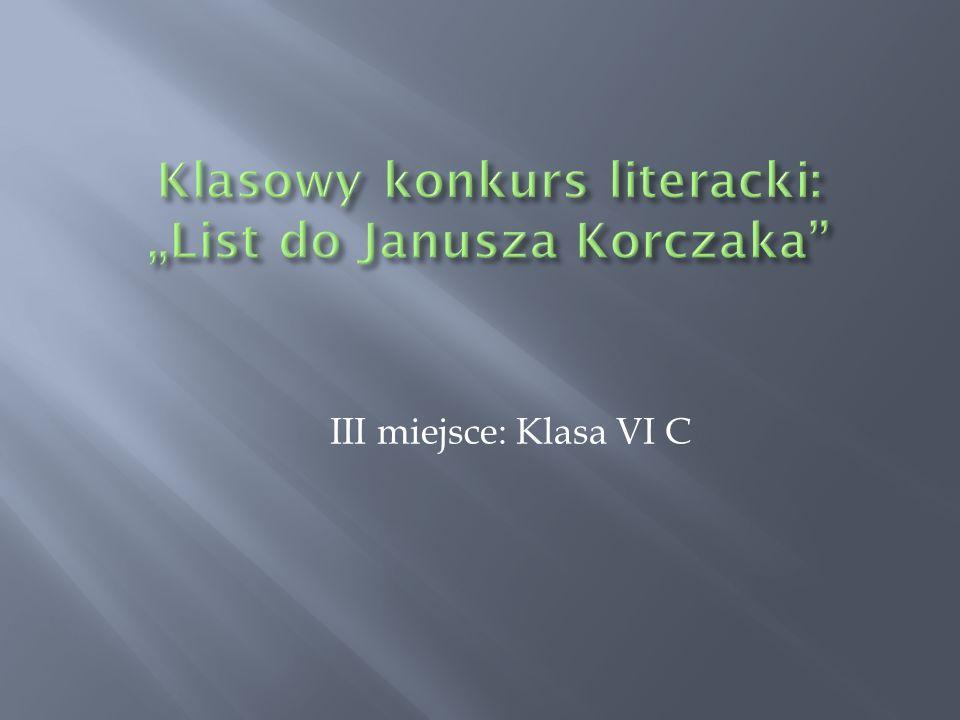 """Klasowy konkurs literacki: """"List do Janusza Korczaka"""