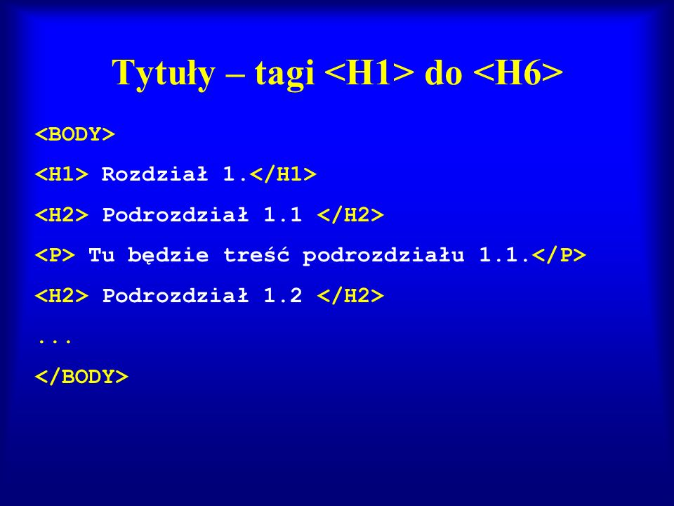 Tytuły – tagi <H1> do <H6>
