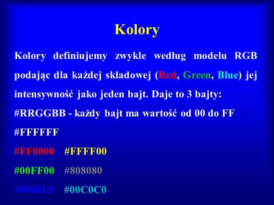 Kolory Kolory definiujemy zwykle według modelu RGB podając dla każdej składowej (Red, Green, Blue) jej intensywność jako jeden bajt. Daje to 3 bajty: