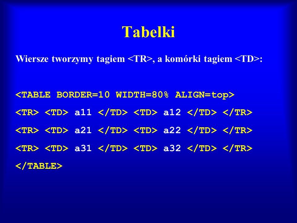 Tabelki Wiersze tworzymy tagiem <TR>, a komórki tagiem <TD>: <TABLE BORDER=10 WIDTH=80% ALIGN=top>