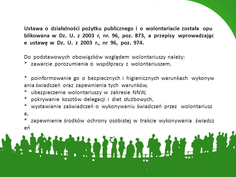 Ustawa o działalności pożytku publicznego i o wolontariacie została opublikowana w Dz.