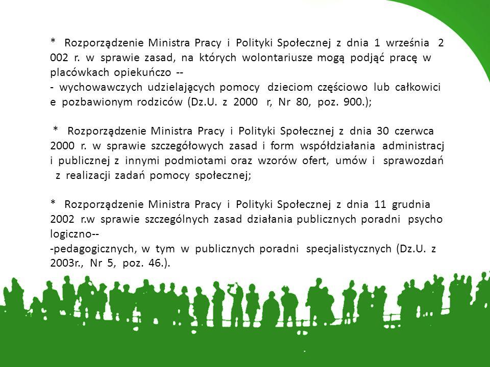 * Rozporządzenie Ministra Pracy i Polityki Społecznej z dnia 1 września 2002 r.