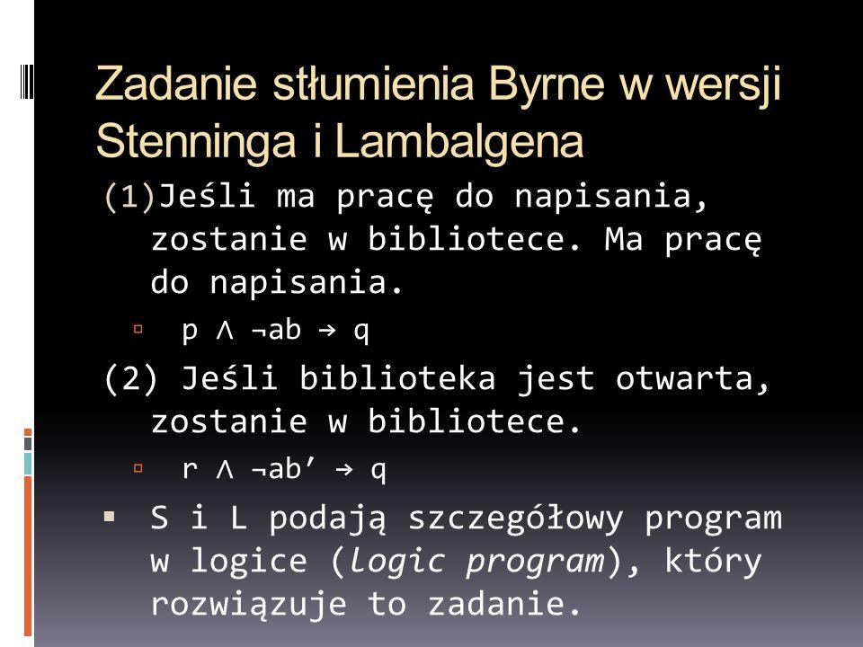 Zadanie stłumienia Byrne w wersji Stenninga i Lambalgena