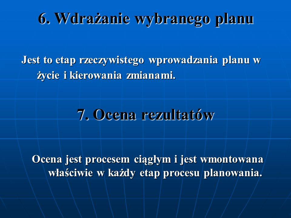 6. Wdrażanie wybranego planu