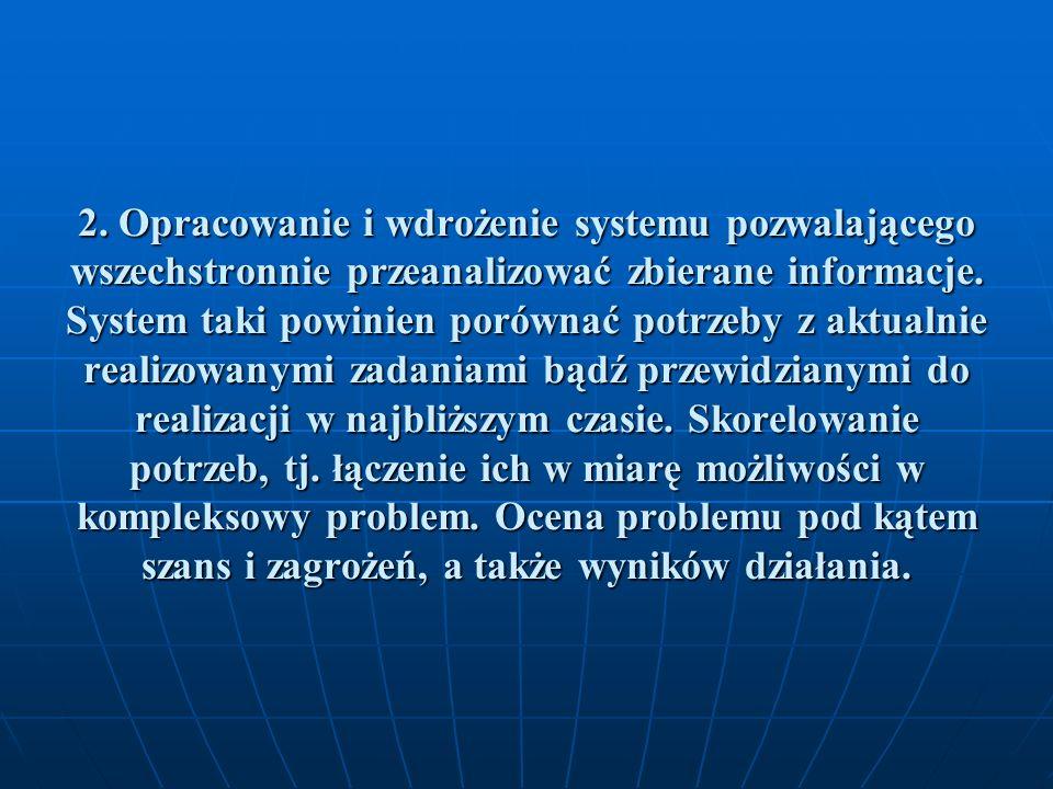 2. Opracowanie i wdrożenie systemu pozwalającego wszechstronnie przeanalizować zbierane informacje.