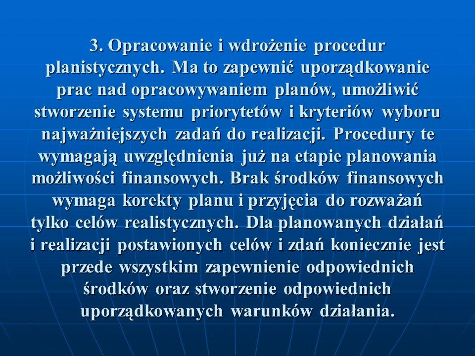 3. Opracowanie i wdrożenie procedur planistycznych