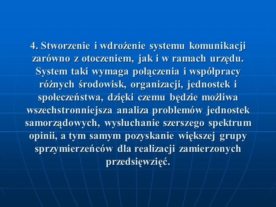 4. Stworzenie i wdrożenie systemu komunikacji zarówno z otoczeniem, jak i w ramach urzędu.