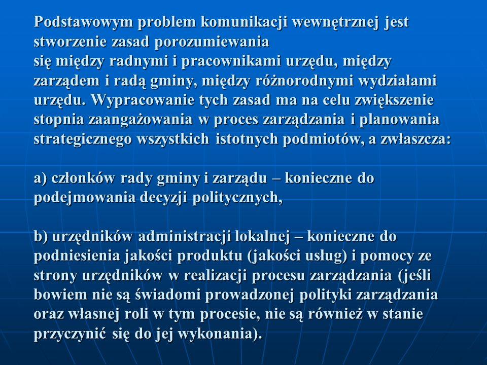 Podstawowym problem komunikacji wewnętrznej jest stworzenie zasad porozumiewania się między radnymi i pracownikami urzędu, między zarządem i radą gminy, między różnorodnymi wydziałami urzędu.