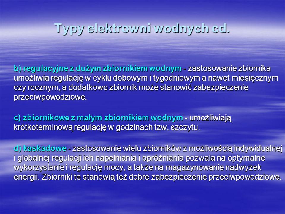 Typy elektrowni wodnych cd.
