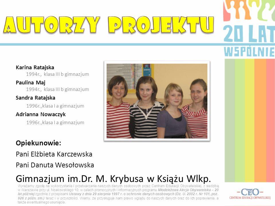 AUTORZY PROJEKTU Gimnazjum im.Dr. M. Krybusa w Książu Wlkp.
