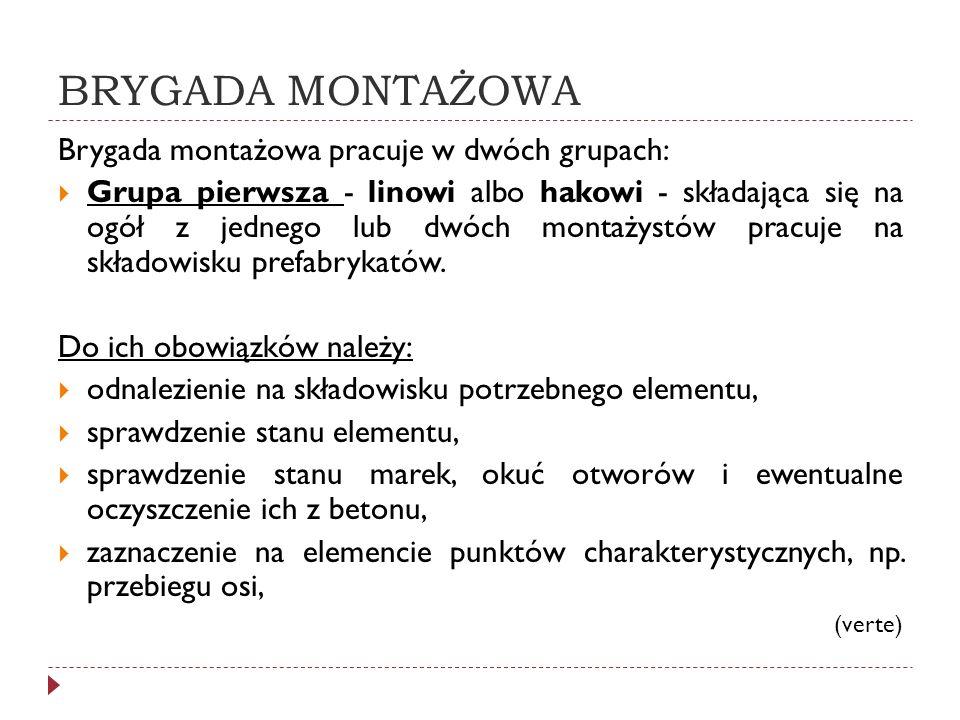 BRYGADA MONTAŻOWA Brygada montażowa pracuje w dwóch grupach: