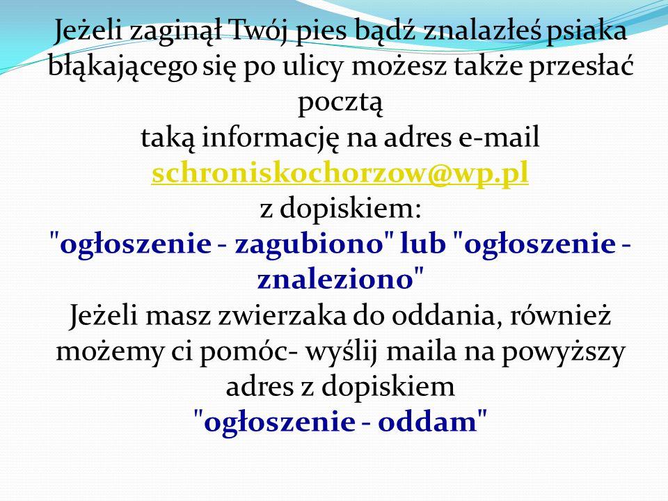 taką informację na adres e-mail schroniskochorzow@wp.pl z dopiskiem: