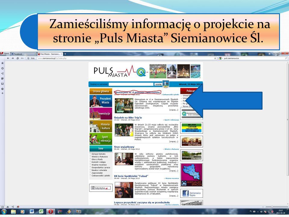 """Zamieściliśmy informację o projekcie na stronie """"Puls Miasta Siemianowice Śl."""