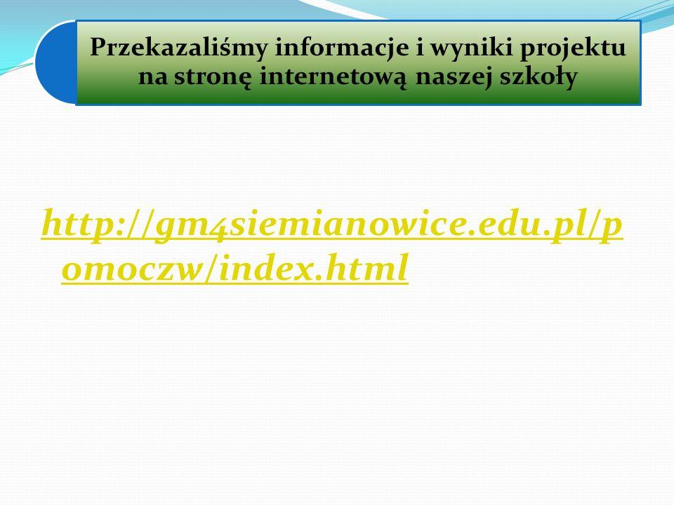 Przekazaliśmy informacje i wyniki projektu na stronę internetową naszej szkoły