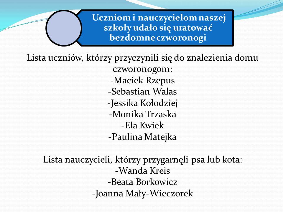 Lista uczniów, którzy przyczynili się do znalezienia domu czworonogom: