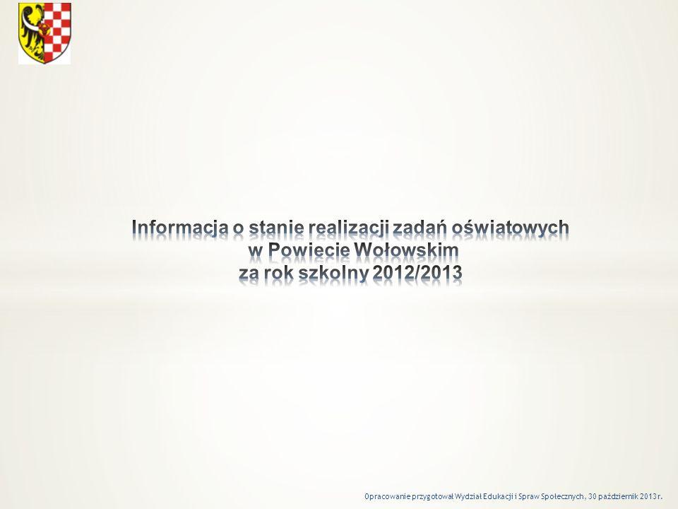 Informacja o stanie realizacji zadań oświatowych w Powiecie Wołowskim za rok szkolny 2012/2013