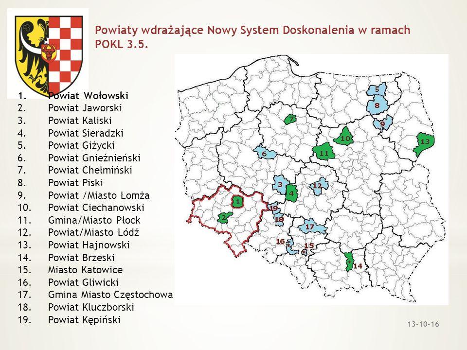 Powiaty wdrażające Nowy System Doskonalenia w ramach POKL 3.5.