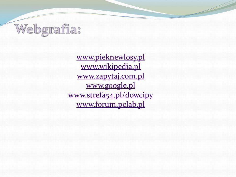 Webgrafia: www.pieknewlosy.pl www.wikipedia.pl www.zapytaj.com.pl