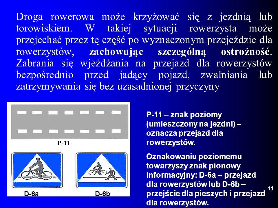 Droga rowerowa może krzyżować się z jezdnią lub torowiskiem