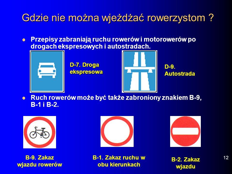 Gdzie nie można wjeżdżać rowerzystom